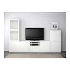IKEA - BESTÅ, Alm TV, blanco/Selsviken alto brillo/vidrioesmerilbl, riel para cajón con cierre suave, , Las puertas y cajones llevan un sistema integrado para abrir/cerrar suave y silenciosamente.Esta combinación te ofrece mucho almacenaje y facilita mantener en orden el salón.Es fácil tener  los cables del TV y otros dispositivos ocultos pero a mano, gracias a las aberturas de la parte de atrás del mueble de TV.Si no quieres que se vean los cables, pásalos por el agujero que hay en la…