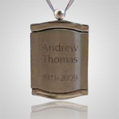 The Silver Frame Urn Pendant are for cremation urns which can not be engraved but we can have a satin cord around the neck of the urn. They are for classic style urns, perfect for standing urns. This will give you the personalization you are looking for. It will hold a picture on the inside of the pendant.