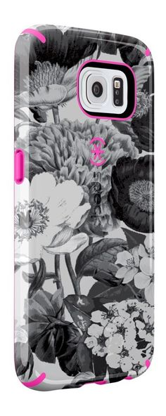 Speck Samsung Galaxy S6 CandyShell Inked Case - Vintage Bouquet Grey / Shocking Pink