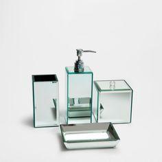 Bella Lux Mirrored Rhinestone Bathroom Accessories