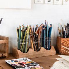 Beatrix Artist Caddy, Wooden Desk Organization, Pen and Pencil Holder, Minimalist Home Decor by Peg and Awl Home Art Studios, Art Studio At Home, Art Studio Decor, Beatrix Potter, Bureau D'art, Rangement Art, Wood Pencil Holder, Pencil Holders For Desk, Desk Caddy