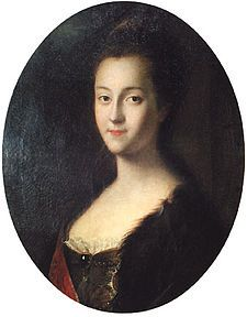 Young Catherine (the Great) soon after the arrival to Russia, by Louis Caravaque.