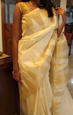 offwhite and gold Kanchevaram silk saree