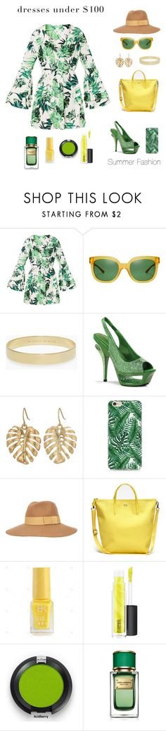 """""""Dress Under $100"""" by shamrockclover ❤ liked on Polyvore featuring Tory Burch, Kate Spade, Pleaser, The Sak, Caso, Brixton, Lacoste, MAC Cosmetics and Dolce&Gabbana"""