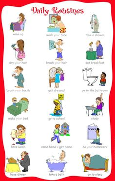 Basic English Vocabulary ~Daily Routines~ # learn english for beginners English Verbs, Kids English, English Study, English Class, English Lessons, English Vocabulary, English Grammar, Learn English, Daily Vocabulary