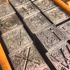 Ornamental letterpress metal type.