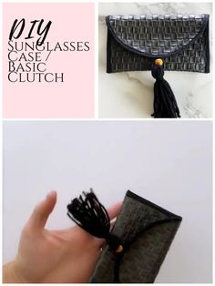 Easy DIY sunglasses case with a free pattern! This free printable sewing pattern comes with a simple video tutorial and step by step instructions to make your own sunglasses case or clutch from leather, canvas, or faux suede. Free Printable Sewing Patterns, Easy Sewing Patterns, Diy Clutch, Diy Purse, Clutch Bags, Diy Dress, Sewing For Beginners, Diy Fashion, Free Pattern
