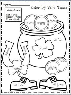 Free. St. Patrick's Day Verbs Worksheet.  Practice verb tenses.  Students color the picture using the verb tense code.