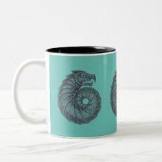 Mug AMMONITE black on aqua Ocean Creatures, Celtic Designs, Ammonite, Dog Design, Photo Mugs, Fossil, Coffee Mugs, Lavender, Aqua
