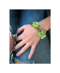 Jewelry Charm Bracelet Buttons  Great Green by LovesParisStudio, $30.00