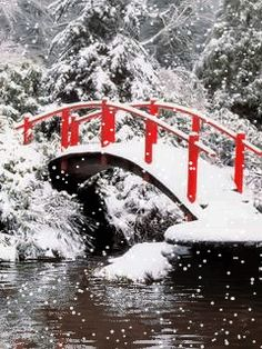 Download Animated 240x320 «Red bridge» Cell Phone Wallpaper. Category: Nature