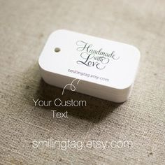 Handmade with Love Personalized Gift Tags - Wedding Favor Tags Thank you tags Hang tags Wedding Gift Tags - Set of 40 (Item code: J270). $15.00, via Etsy.