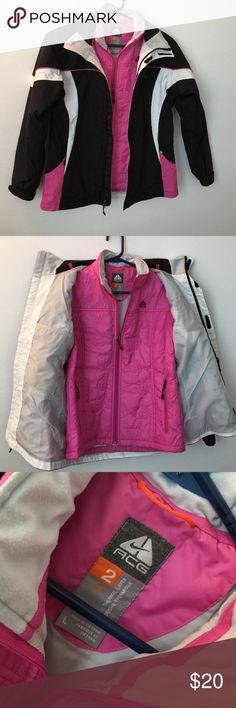 Nike ACG Double Layer Jacket Used double layer jacket.  No holes, stains or rips. It's a girls large, will fit a small junior.  Hood is missing, can't find it.. Nike ACG Jackets & Coats