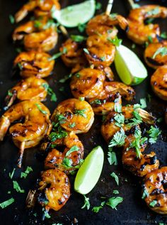 Honey Sriracha Grilled Shrimp an easy 30 minute meal or appetizer. These are hands down the BEST grilled shrimp you'll ever have and the Honey Sriracha Glaze is swoon worthy!