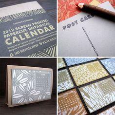 The Curious Doodles screen printed Botanical Papercut Calendar.