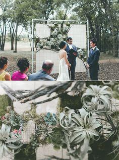 Succulent ceremony backdrop | 100 Layer Cake. Wedding backdrop
