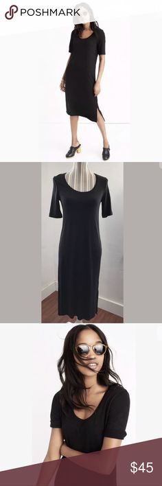 """Madewell short-sleeve tee dress Black Short Sleeve New without tags! PRODUCT DETAILS A long T-shirt dress with a flattering scoopneck and easy side slits. Comfy, stretchy and so un-clingy, this short-sleeve style pairs easily with both sneakers and boots.  Nonwaisted. Underarm to underarm, laying flat: 15.5"""" Length from shoulder seam: 42"""" Rayon/poly/cotton. Hand wash. Import. Item F6447. Madewell Dresses Midi"""