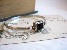 Silver Onyx Bracelet Vintage Sterling & Onyx by BetteEtVeronique, $40.00