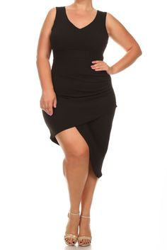 d613f36b709 Plus Size Sexy Solid Body-con Sleeveless Dress – Plussizefix.com Peplum  Dress