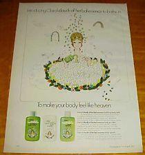 1975 HERBAL ESSENCE Clairol clouds 1 PAGE ad Body Bath Powder Splash #101514