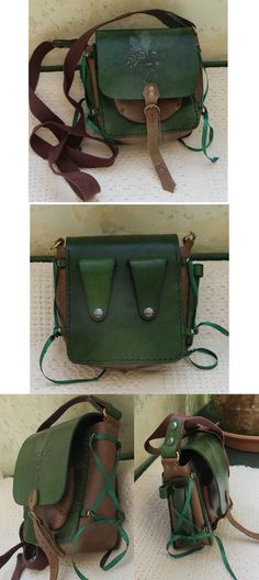 Green Woman Field Bag by danaan-dewyk on deviantART--I'd love to have or make something like this. If I made it, I'd go with waxed leather for at least some of it.but leather wherever I could make it work. Larp, Leather Craft, Leather Bag, Handmade Leather, Leather Crossbody, Belt Pouch, Fantasy Costumes, Leather Projects, Boho Hippie