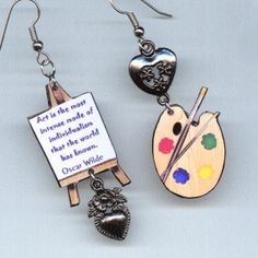 Artist Earrings Easel Palette Van Gogh Oscar by DesignsByAnnette,