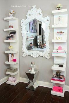 White mirror & shelves