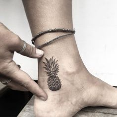 Tiny pineapple 🍍 for done at 🖤 Mini Tattoos, Black Ink Tattoos, Baby Tattoos, Cute Tattoos, Leg Tattoos, Body Art Tattoos, Small Tattoos, Tatoos, Pineapple Tattoo Meaning