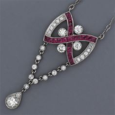 Art Deco ruby and diamond necklace.  Follow Renaissance Fine Jewelry or see us at www.vermontjewel.com