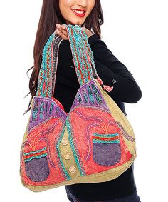 Take a look at this Purple & Red Embroidered Ruffle Shopper by Rising International on #zulily today!
