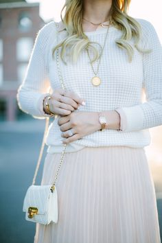 Blush Pink Pleated Skirt + White Sweater / Fall Transition Outfit