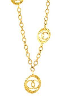 Vintage Chanel Logo Necklace w/ Pendant