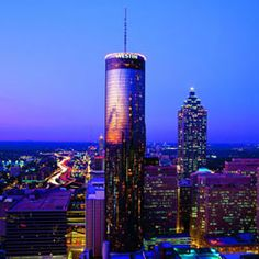 Sun Dial Restaurant-Atlanta, GA - 723 ft. above the city. Tri-level revolving dining complex with a 360 degree panorama view of Atlanta skyline.