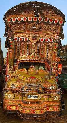 Collection of decorated trucks and buses of pakistan images photographs decorated trucks and buses pakistan trucks flowers art truck art drawings paintings Truck Art Pakistan, Pakistan Art, Gypsy Caravan, Gypsy Wagon, Gypsy Life, Gypsy Soul, Vintage Gypsy, Van Life, Art Cars