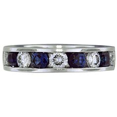 For the sapphire lovers! Custom Designed Diamond and Sapphire Channel Set Band brilliantearth.com