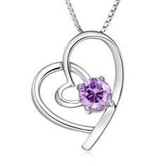 """Chaomingzhen White Gold Plated 925 Sterling Silver Purple Diamond Heart Pendant Necklace for Women Fashion Jewerly or for Girlfriend 18"""" Chaomingzhen. $21.99. come with 925 silver chain style is not fixed. come with gift box. Noble. Charm. Party jewelry"""