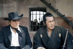 On the set of Red Sun (1971, aka Soleil Rouge), with Toshiro Mifune