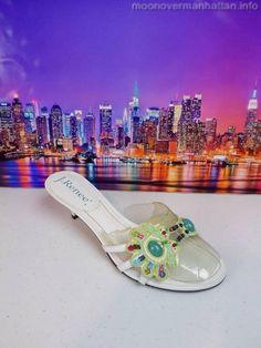 Womens shoes J RENEE Roma white leather beaded Kitten Heel Slide Sandal sz 7.5 M #JRenee #Slides