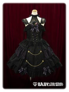 •○~ Gothic lolita fashion, ゴスロリ ♥ Baby, The Stars Shine Bright - dress - bows - lace - corset ribbons - chains - cute - kawaii - Japanese street fashion✮ ~•○