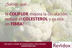 ¿Sabías que la coliflor mejora la circulación, reduce el colesterol y es rica en fibra?