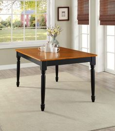 Rustic Wood Dining Table 6 Person Kitchen Dining Furniture Oak Top Black 2  Tone #RusticWoodDiningTable