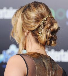 hair with ribbons.