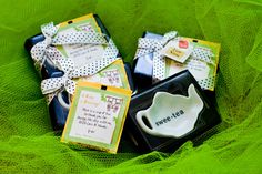 Baby Shower Tea Party Favors - saw the tea bag holders on a website - cute idea to add tea bags to it.