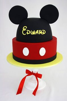 Mickey hat cake with name and age