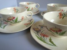 Ballerina Universal Potteries Thistle Cups and Saucers (8 pieces) Dandelion Orange and Purple Floral - Summery China Set