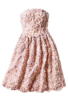 Pink bridesmaid dress with rose pattern.