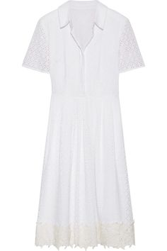 EXCLUSIVE AT NET-A-PORTER.COM. Reese Witherspoon's label is inspired by the hospitality, charm and grace of her grandparents, Dorothea Draper and William James. This white dress is made from airy cotton that's woven with a floral broderie anglaise pattern. It's pleated for subtle volume and beautifully appliquéd along the hem.