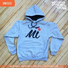 """Michigan Love Script"" Athletic Heather Hoodie by Yooper Shirts | Yooper Shirts ®"