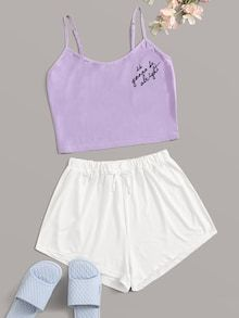 To find out about the Letter Graphic Cami Pajama Set at SHEIN, part of our latest Pajama Sets ready to shop online today! Cute Lazy Outfits, Teenage Outfits, Teen Fashion Outfits, Girl Outfits, Tween Fashion, Cute Pyjama, Cute Pajama Sets, Pj Sets, Cute Sleepwear