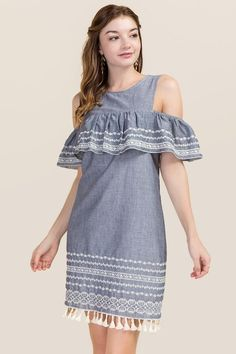 Brittany Embroidery Cold Shoulder Dress